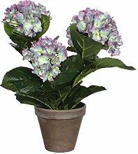 Mica decorations 949421-T Kunstblume -und Pflanze, Hortensie Höhe 40 cm, Durchmesser 35 cm lila im Übertopf Stan terrakotta, grau / braun