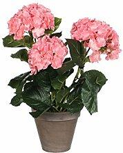 Mica decorations 949425-T Kunstblume -und Pflanze, Hortensie Höhe 40 cm, Durchmesser 35 cm rosa im Übertopf Stan, grau / braun