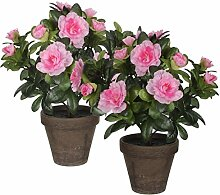 Mica decorations 950333-T Kunstblume -und Pflanze, 2 Stück Azalee Höhe 27 rosa im Übertopf Stan, grau / braun