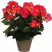 Mica decorations 977506-T Kunstblume -und Pflanze, Begonie Höhe 30 cm, Durchmesser 25 cm hellrot im Übertopf Stan D11.5, grau / braun