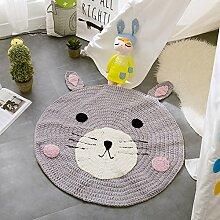 MicBridal® Baumwolle Gestrickt Teppich Nordischen Stil kreisförmig Vorleger Wohnzimmer Kinderzimmer Mehrfarbige Teppich Spielteppich (Grau)