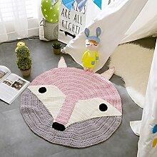 MicBridal® Baumwolle Gestrickt Teppich Nordischen Stil kreisförmig Vorleger Wohnzimmer Kinderzimmer Mehrfarbige Teppich Spielteppich (Pink)