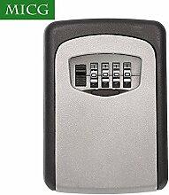 MICG Schlüsselsafe Schlüsseltresor 4-stelligen Zahlencode Aluminiumgehäuse KeyGarage zur Wandmontage mit wettersicherer Abdeckung