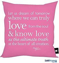 Michael Jackson Zitat Let Us Dream Pink Design Kissen 45,7x 45,7cm hergestellt in Yorkshire tolle Geschenkidee