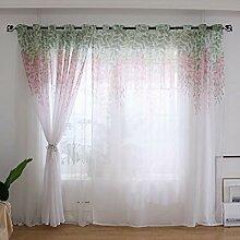 Michorinee 2 Stücke Transparent Vorhänge Blumen