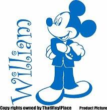 Mickey Maus mit Ihrem gewählten Namen 60cm x 50cm Farbe wählen 18Farben auf Lager Kinder Disney, jeder Name, personalisierbar, Name, Schlafzimmer, Kinder Zimmer Aufkleber, Auto Vinyl-, Windows und Wandtattoo, Wall Windows Art, Decals, Ornament Vinyl Aufkleber von 4printer, Mittelblau, M