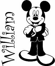 Mickey Maus mit Ihrem gewählten Namen 60cm x 50cm Farbe wählen 18Farben auf Lager Kinder Disney, jeder Name, personalisierbar, Name, Schlafzimmer, Kinder Zimmer Aufkleber, Auto Vinyl-, Windows und Wandtattoo, Wall Windows Art, Decals, Ornament Vinyl Aufkleber von 4printer schwarz