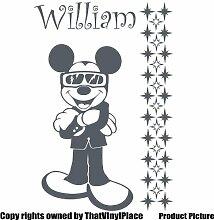 Mickey Maus mit Ihrem gewählten Namen und Set von 29stars 60cm x 40cm Farbe Wählen 18Farben auf Lager Kinder Disney, jeder Name, personalisierbar, Name, Schlafzimmer, Kinder Zimmer Aufkleber, Auto Vinyl-, Windows und Wandtattoo, Wall Windows Art, Decals, Ornament Vinyl Aufkleber von 4printer Dark Gray