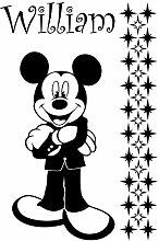 Mickey Maus mit Ihrem gewählten Namen und Set von 29stars 60cm x 40cm Farbe Wählen 18Farben auf Lager Kinder Disney, jeder Name, personalisierbar, Name, Schlafzimmer, Kinder Zimmer Aufkleber, Auto Vinyl-, Windows und Wandtattoo, Wall Windows Art, Decals, Ornament Vinyl Aufkleber von 4printer schwarz