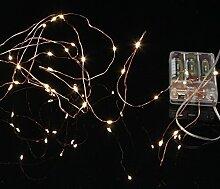 Micro LED Batterie Lichterkette mit Timer Lichtdraht 40 Lichter warm weiß Indoor, Auswahl:kupfer