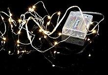 Micro LED Batterie Lichterkette mit Timer Lichtdraht 40 Lichter warm weiß indoor, Auswahl:silber