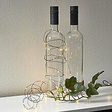 Micro LED Batterie Lichterkette mit Timer Lichtdraht 40 Lichter warm weiß Indoor, Auswahl:schwarz