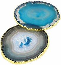 Micro Traders 2 x Achatscheiben Stein Tasse