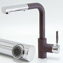 Microbrause Spültisch Armatur Pluvia B mit Auszug zu Astracast Farbe Schokolade / Braun Metallic Küchenarmatur Einhandmischer Wasserhahn