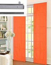 Microsatin Schiebegardine Flächenvorhang mit Alupanelwagen und Beschwerungsstab, Orange, 1 Set 245x60 85600-94, 085600943011