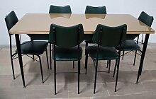 Mid-Century Esstisch und 6 Stühle, 1950er