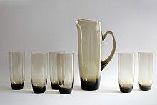 Mid-Century Saft Kanne mit 6 Gläsern