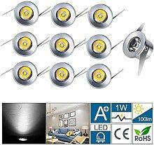 Midore Mini LED Einbaustrahler 1W 10er Einbauspots