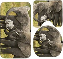 Miedhki Cute Elephant Family Bath Mat Set,3 Piece