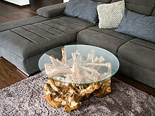 Mienloco Teakholz Couchtisch Wurzeltisch Baumtisch