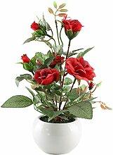 MIHOUNION Künstliche rote Rosen Stoff Pflanze Arrangement von Blumen Künstliche Blumentöpfe Desktop Home Dekoration (mit Vase)