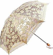 miihome Damen Regenschirm Spitze Sonnenschirm Taschenschirm Sonnenschutz Anti-UV-(gelb)