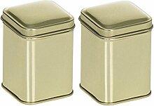 mikken 2 x kleine Vorratsdose gold-farben 4,4x4,4x6 cm / Metalldose, Teedose, Gewürzdose für ca. 10 Gramm ( gemessen mit getrocknetem Basilikum ) / Dosen-Set aus Weissblech gold-farben