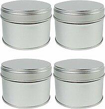 mikken 4x Gewürzdose mit zusätzlichem Aroma-/ Innen-Deckel Ø 6,3 x 4,7 cm,Vorratsdosen, Teedosen aus Metall silber-matt, für ca. 12g Gewürze