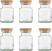 mikken 6 Gewürzgläser 150 ml Glas mit Holzdeckel