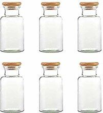mikken 6 Gewürzgläser 300 ml Glas mit Holzdeckel