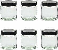 mikken Glas Tiegel Glastiegel, Silber, 6X 120ml,