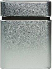 mikken Vorratsdose mit zusätzlichem Aromadeckel / Innendeckel 8x8x10,5cm, Gewürzdose, Teedose aus Metall silber-matt, für ca. 145g Tee