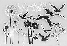 mikolot DIY Blumen Vögel Silikon Clear Stamps