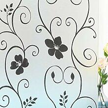 Mikomer Dekorative Fensterfolie, Schwarze Blume,