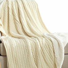 Mikrofaser Decke Tagesdecke Kuscheldecke Wohndecke Fleecedecke Wolldecke Schwarz Baumwolle TZ001, By Cosy-L , Weiß , 150*200cm