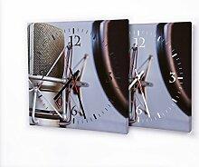 Mikrofon - Moderne Wanduhr mit Fotodruck auf Leinwand Keilrahmen   Fotouhr Bilderuhr Motivuhr Küchenuhr modern hochwertig Quarz   Variante:30 cm x 30 cm mit schwarzen Zeigern