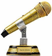 Mikrofon-Pokal mit Gravur | Gesang-Trophäe mit persönlichem Wunsch-Text für die Karaoke Superstars | gold, glitzernd 17,5 cm