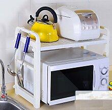 Mikrowelle Ofen Regal Edelstahl Küche Doppelte Schicht Ofen Regal Teleskopaufbewahrung Rack Küchenutensilien ( größe : 59.5*28*46.4cm )