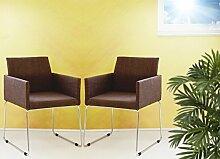 Mila 2er Set Sessel Stoff coffee braun meliert Konferenzsessel Stuhl Esszimmerstuhl