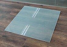 Milchglas Glasbodenplatte Funkenschutzplatte Kaminplatte Glas Ofen Platte Bodenplatte Kaminofenplatte Unterlage (Milchglas Rechteck 100x120cm [RE100/120])