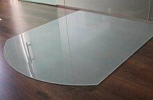 Milchglas Glasbodenplatte Funkenschutzplatte Kaminplatte Glas Ofen Platte Bodenplatte Kaminofenplatte Unterlage (Milchglas Segmentbogen 100x110cm [SB100/110])