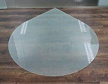 Milchglas Glasbodenplatte Funkenschutzplatte Kaminplatte Glas Ofen Platte Bodenplatte Kaminofenplatte Unterlage (Milchglas Tropfen 100cm [T100])