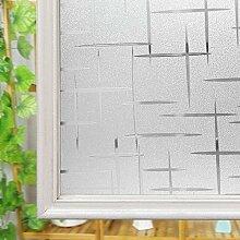 Milchglasfolie, Nicht-Kleber UV-Schutz Sichtschutz Fenster-Folie für Privatsphäre Tür Blinds (Cross-förmige Muster, 60 cm x 200 cm)