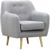 Miliboo Design-Sessel Holz hell und perlgrauer Stoff OLAF