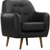 Miliboo Design-Sessel PU Schwarz Füße Nussbaum OLAF