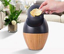 Milkee Bambus Tischabfallbehälter mini Tischabfalleimer Tisch Abfalleimer mit Schwingdeckel