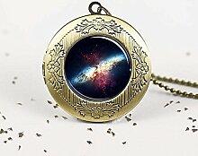 Milky Way Anhänger Medaillon Galaxie Halskette