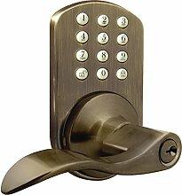 milocks tkl-02aq Digitale Hebel Griff Tür-Zusatzschloss mit Keyless Entry über Tastatur Code für Innentüren, Messing antik