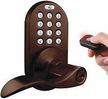 milocks xkl-02ob Digitale Hebel Griff Tür-Zusatzschloss mit Keyless Entry über Fernbedienung und Tastatur Code für Innentüren, Öl eingerieben Bronze