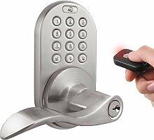 milocks xkl-02sn Digitale Hebel Griff Tür-Zusatzschloss mit Keyless Entry über Fernbedienung und Tastatur Code für Innentüren, Satin Nickel